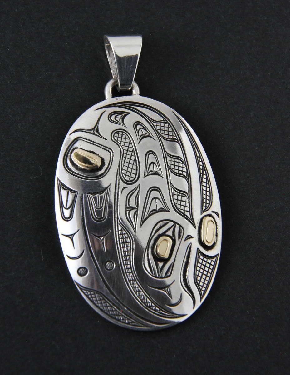 Salmon Silver & Gold Pendant