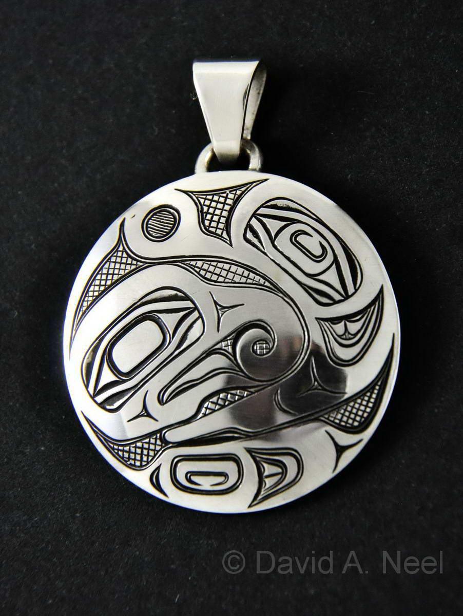 Bear & Hummingbird Silver Pendant