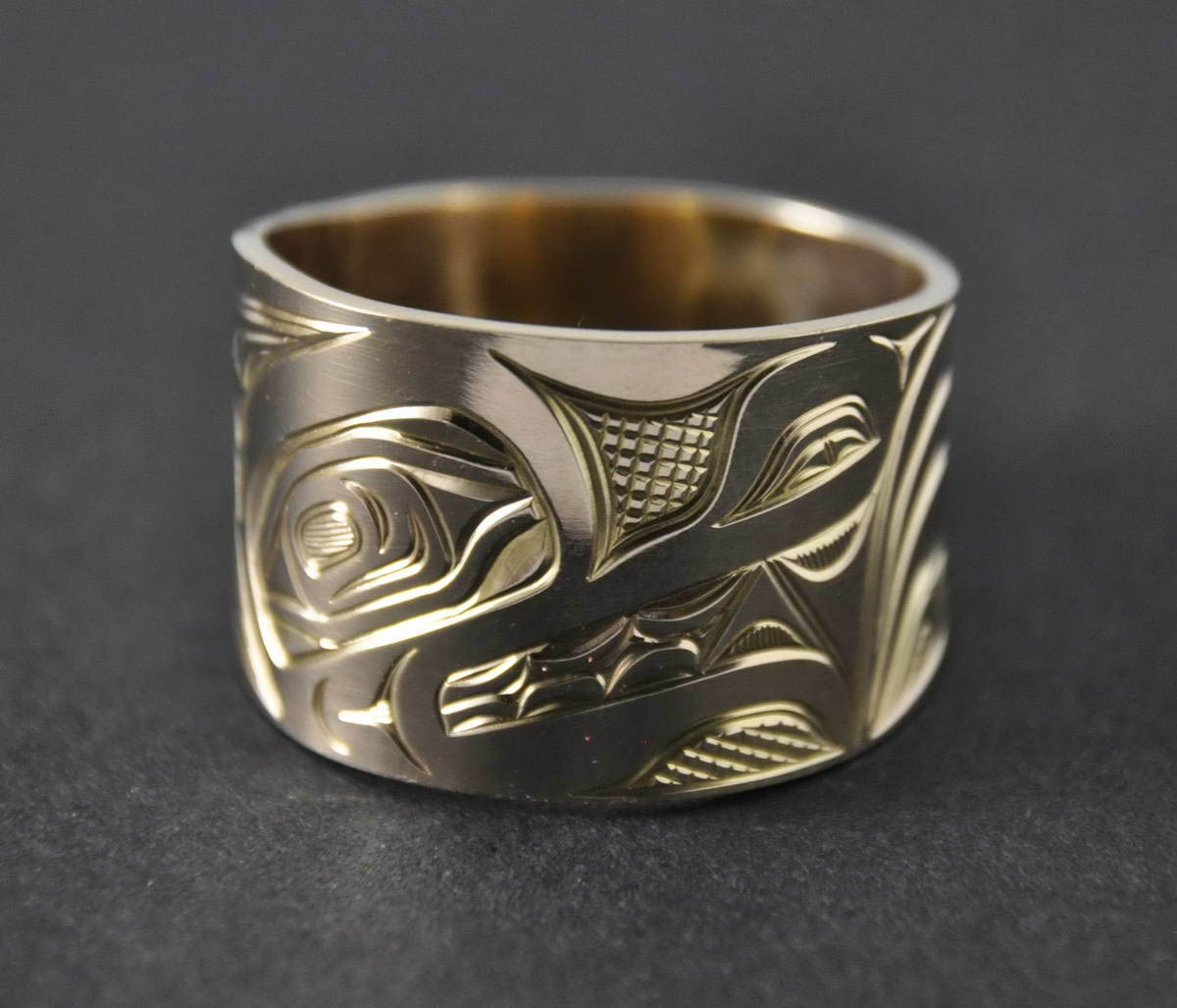 Wolf Wide Gold Ring