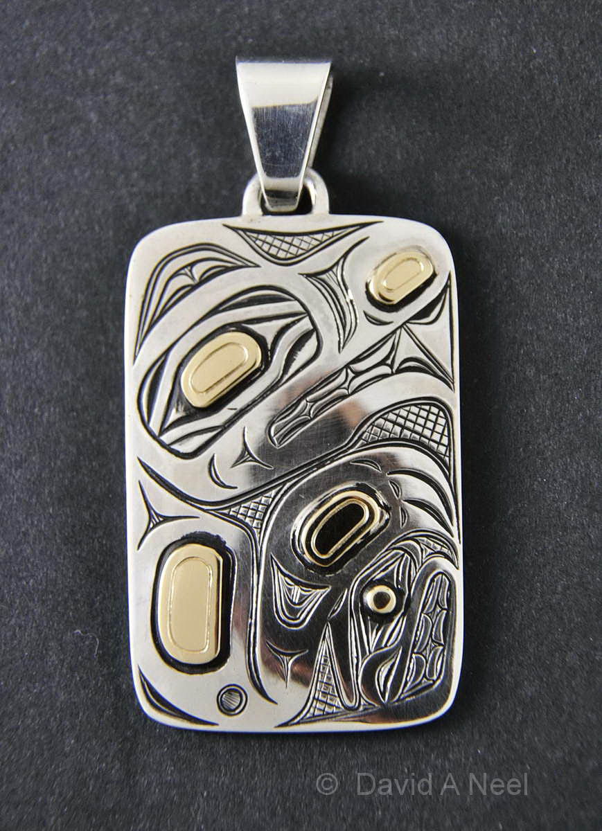 Wolf Silver & Gold Pendant