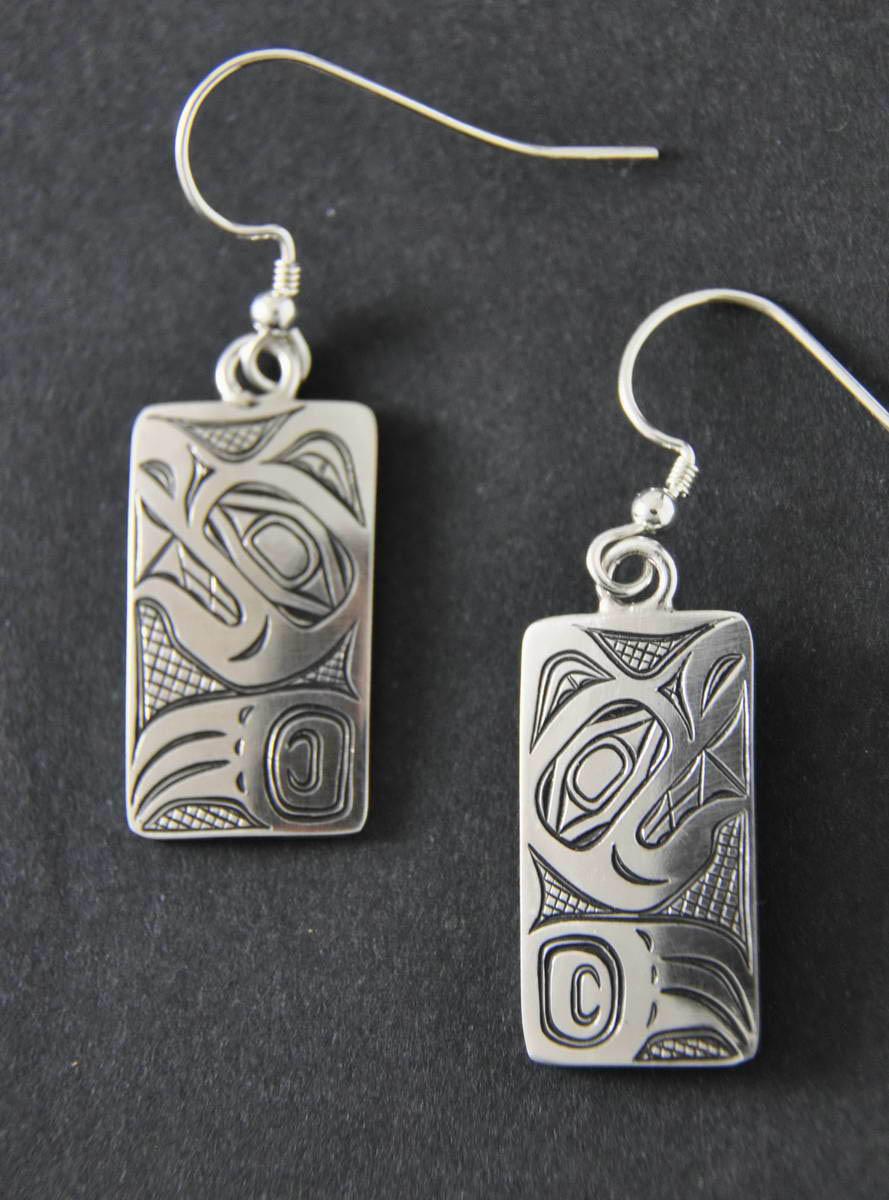 Wolf Earrings Sterling Silver