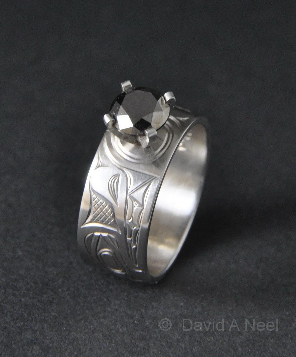 Wolf Platinum & Black Diamond Ring