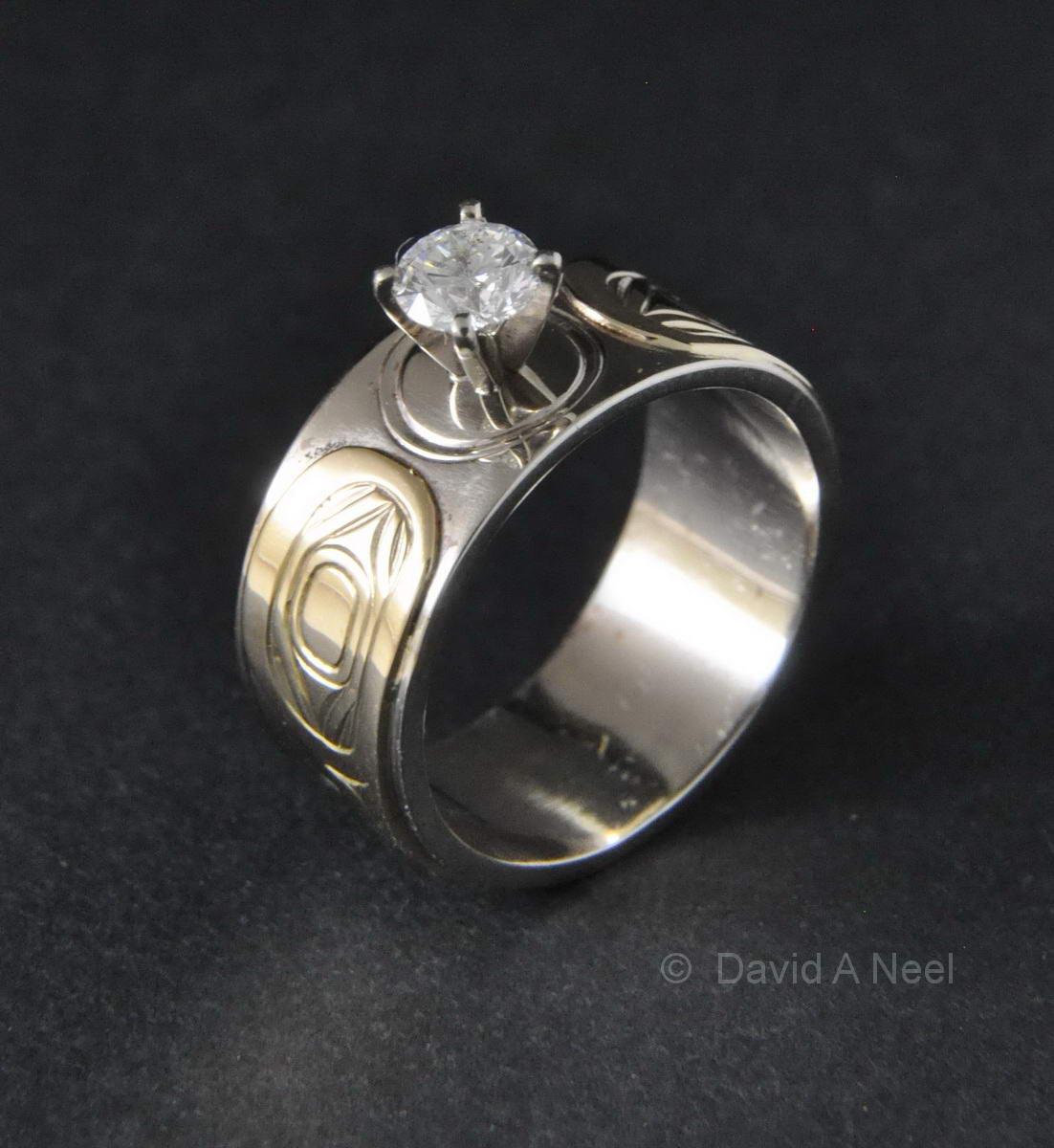 Hummingbird Ring, Silver, Gold & Diamond